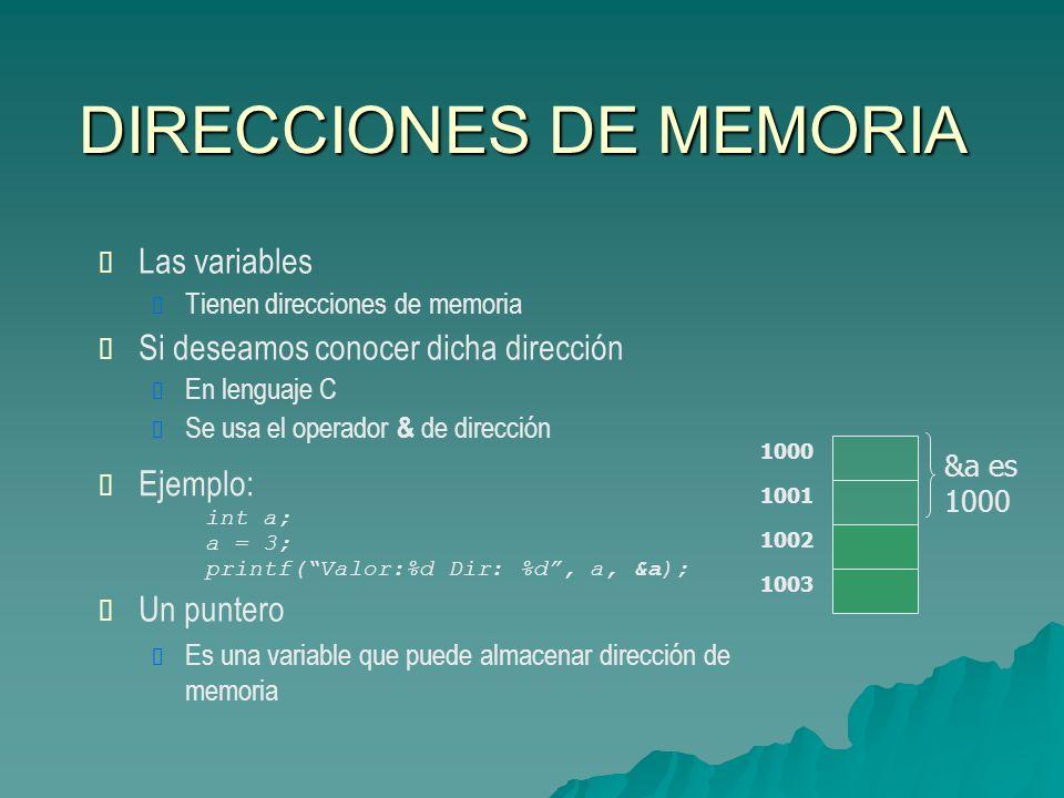 DIRECCIONES DE MEMORIA