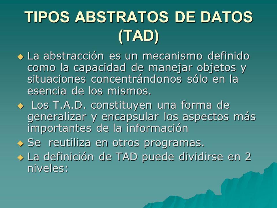 TIPOS ABSTRATOS DE DATOS (TAD)