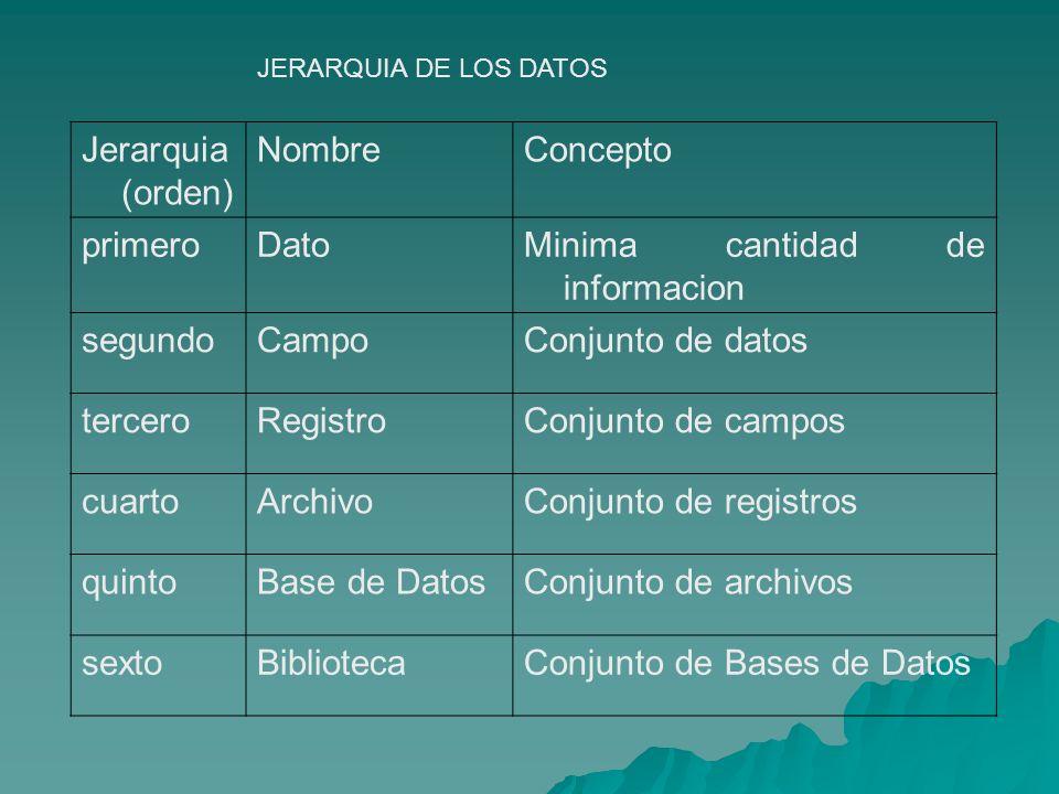 Minima cantidad de informacion segundo Campo Conjunto de datos tercero