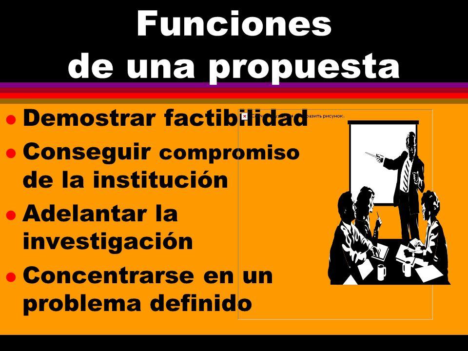 Funciones de una propuesta