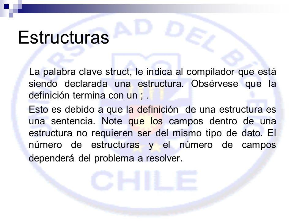 Estructuras La palabra clave struct, le indica al compilador que está siendo declarada una estructura. Obsérvese que la definición termina con un ; .