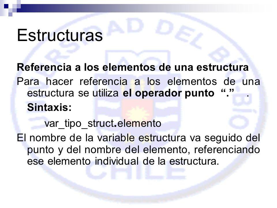 Estructuras Referencia a los elementos de una estructura