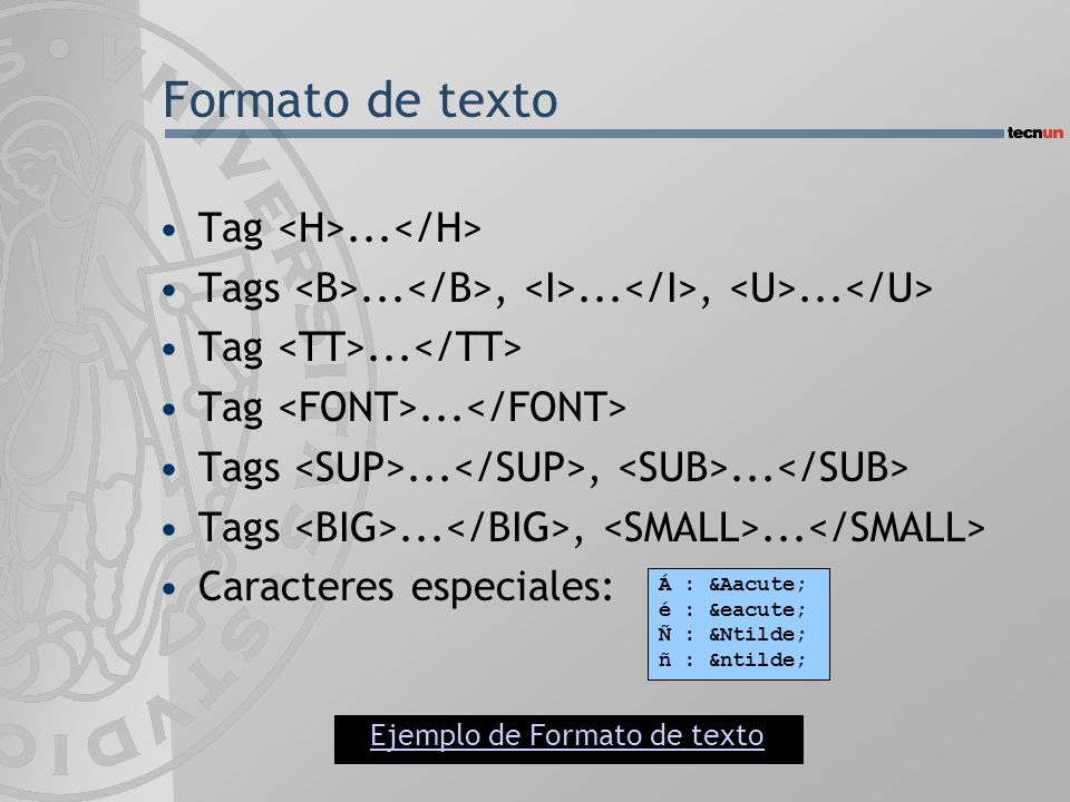Formato de texto Tag <H>...</H>