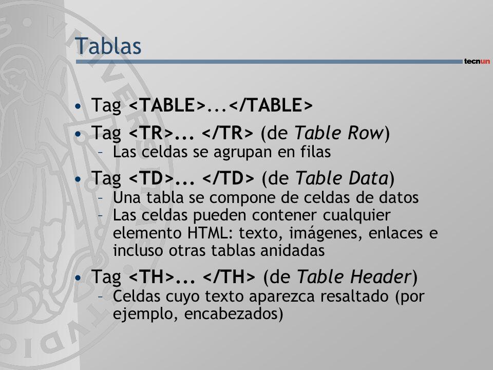 Tablas Tag <TABLE>...</TABLE>