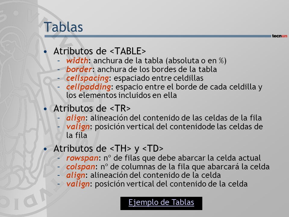 Tablas Atributos de <TABLE> Atributos de <TR>