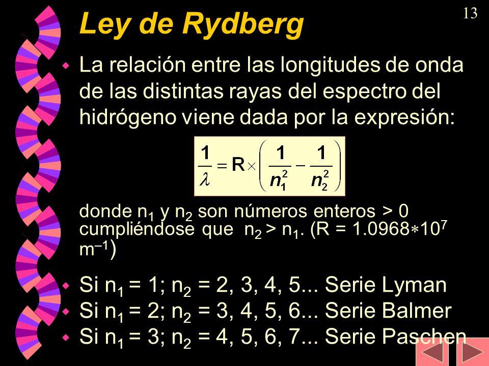 Ley de Rydberg La relación entre las longitudes de onda de las distintas rayas del espectro del hidrógeno viene dada por la expresión: