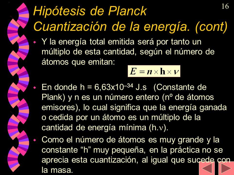 Hipótesis de Planck Cuantización de la energía. (cont)