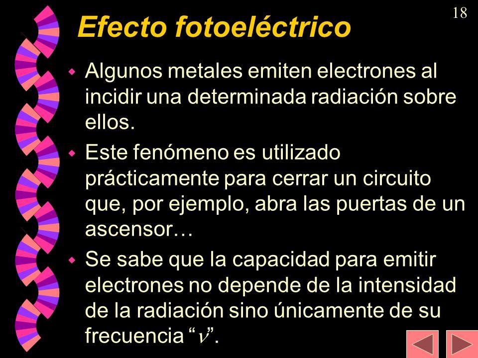 Efecto fotoeléctrico Algunos metales emiten electrones al incidir una determinada radiación sobre ellos.