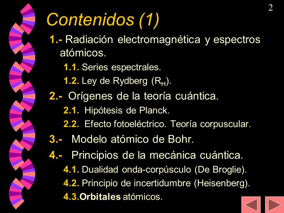 Contenidos (1) 1.- Radiación electromagnética y espectros atómicos.