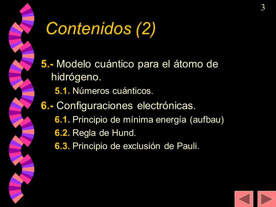 Contenidos (2) 5.- Modelo cuántico para el átomo de hidrógeno.