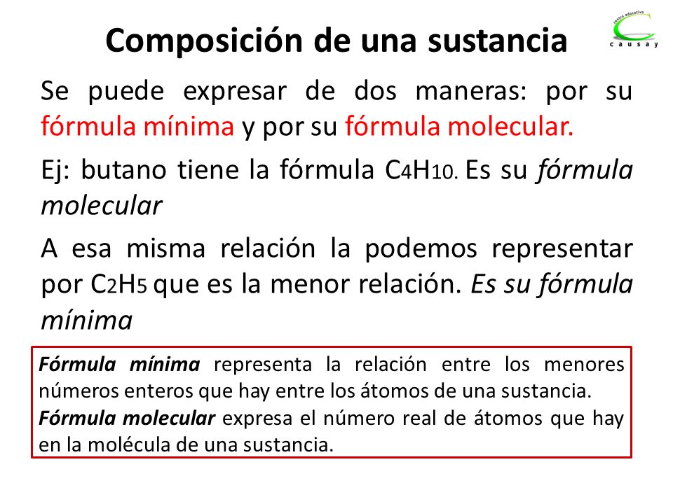 Composición de una sustancia