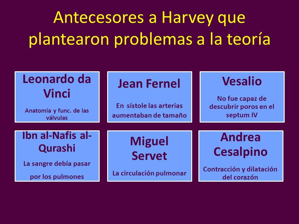 Antecesores a Harvey que plantearon problemas a la teoría