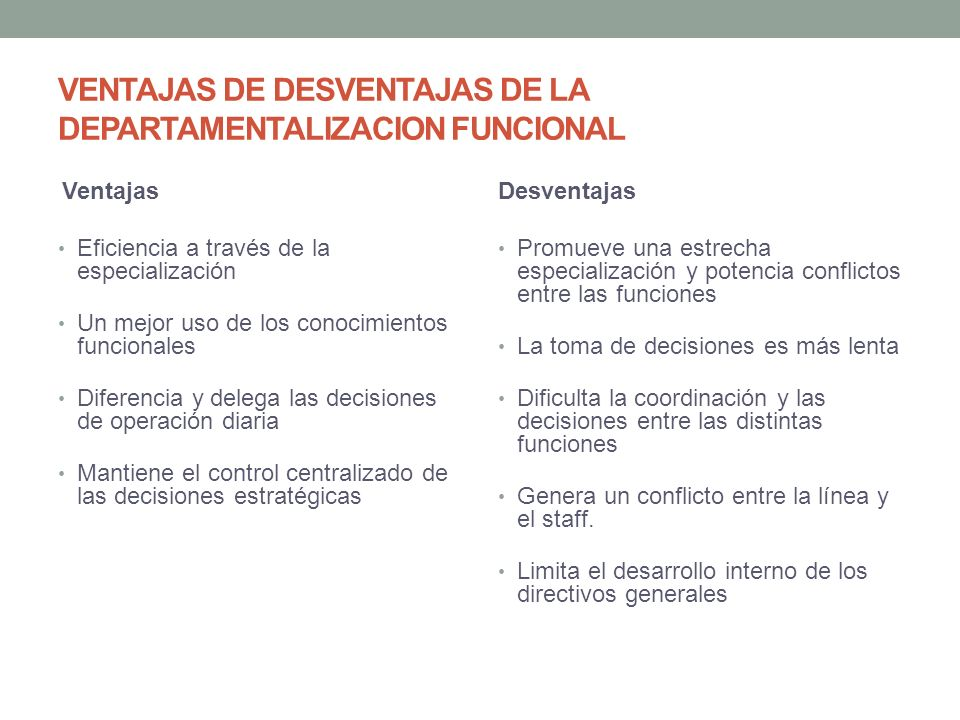 VENTAJAS DE DESVENTAJAS DE LA DEPARTAMENTALIZACION FUNCIONAL