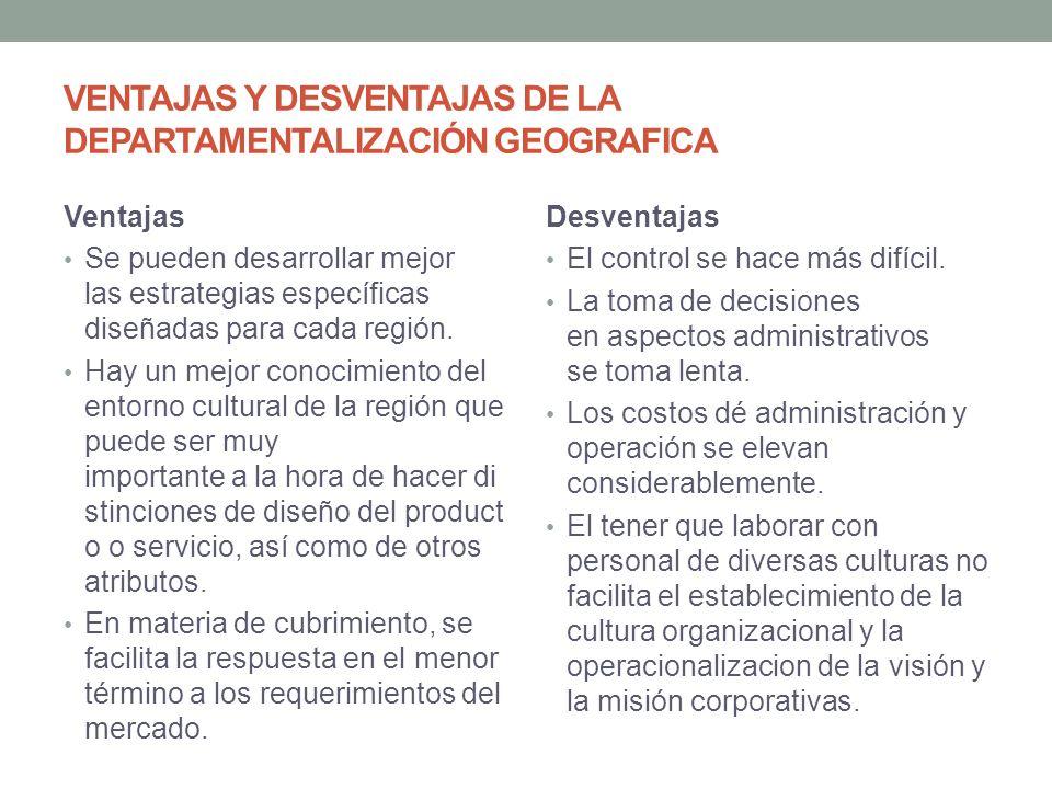 VENTAJAS Y DESVENTAJAS DE LA DEPARTAMENTALIZACIÓN GEOGRAFICA