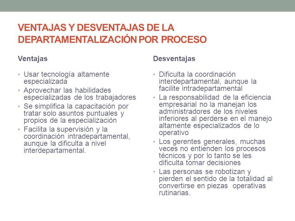 VENTAJAS Y DESVENTAJAS DE LA DEPARTAMENTALIZACIÓN POR PROCESO