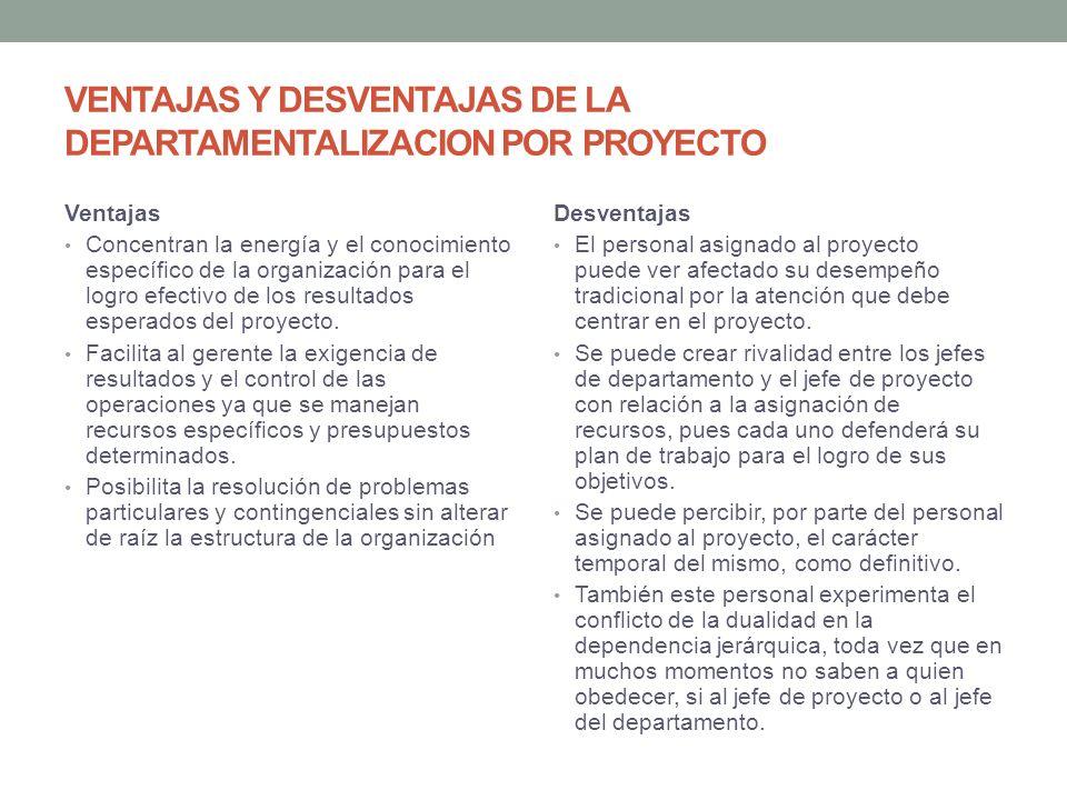 VENTAJAS Y DESVENTAJAS DE LA DEPARTAMENTALIZACION POR PROYECTO