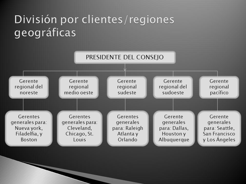 División por clientes/regiones geográficas