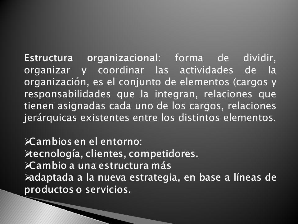 Estructura organizacional: forma de dividir, organizar y coordinar las actividades de la organización, es el conjunto de elementos (cargos y responsabilidades que la integran, relaciones que tienen asignadas cada uno de los cargos, relaciones jerárquicas existentes entre los distintos elementos.