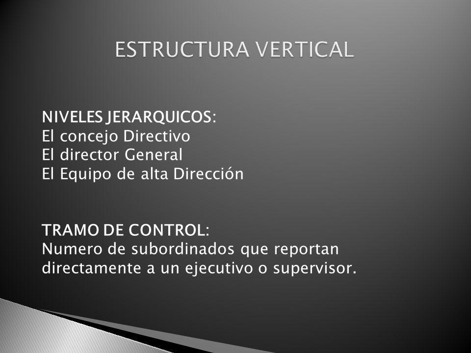 ESTRUCTURA VERTICAL NIVELES JERARQUICOS: El concejo Directivo