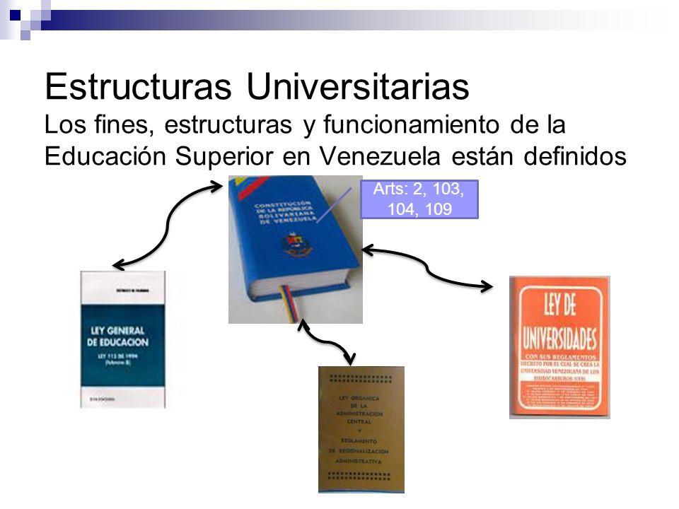Estructuras Universitarias Los fines, estructuras y funcionamiento de la Educación Superior en Venezuela están definidos