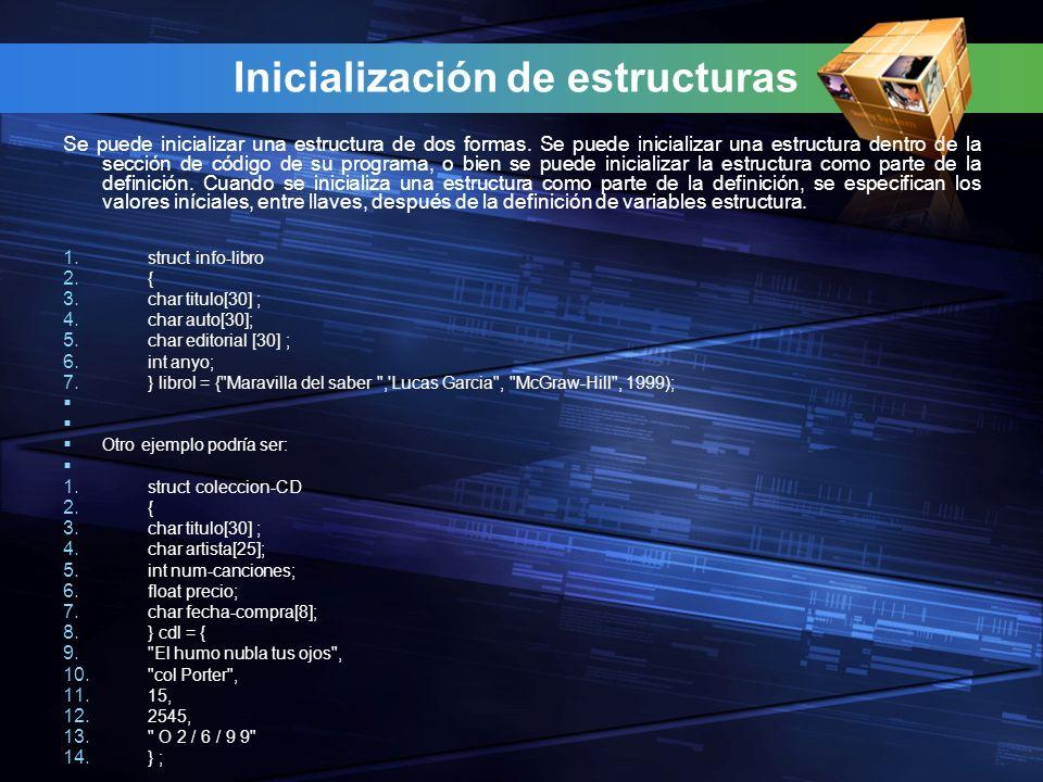 Inicialización de estructuras