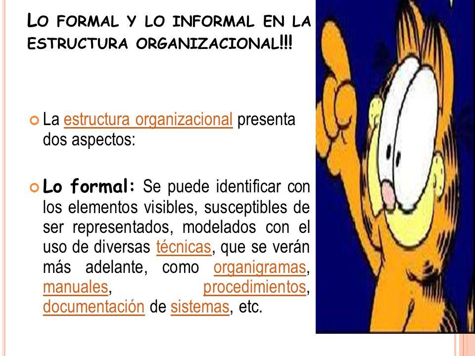 Lo formal y lo informal en la estructura organizacional!!!