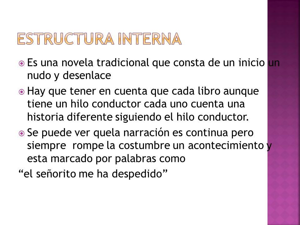 Estructura interna Es una novela tradicional que consta de un inicio un nudo y desenlace.