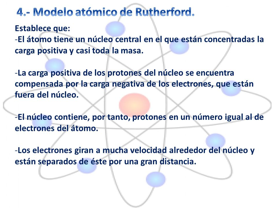 4.- Modelo atómico de Rutherford.