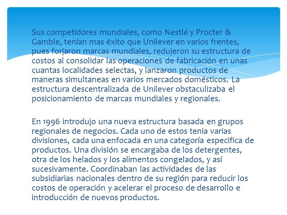Sus competidores mundiales, como Nestlé y Procter & Gamble, tenían mas éxito que Unilever en varios frentes, pues forjaron marcas mundiales, redujeron su estructura de costos al consolidar las operaciones de fabricación en unas cuantas localidades selectas, y lanzaron productos de maneras simultaneas en varios mercados domésticos. La estructura descentralizada de Unilever obstaculizaba el posicionamiento de marcas mundiales y regionales.