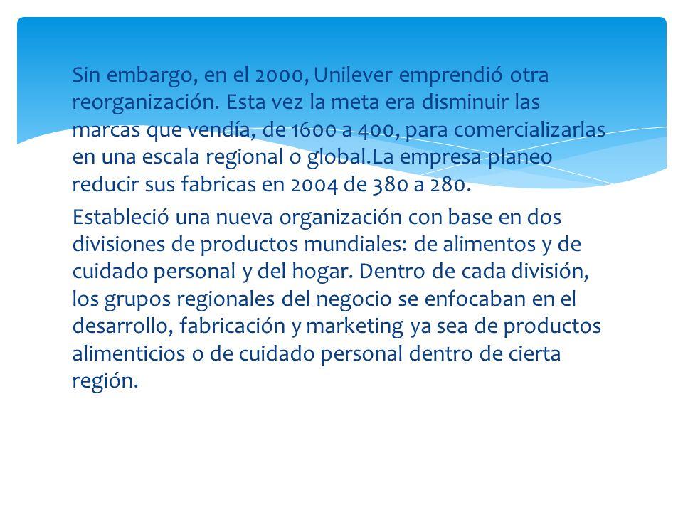 Sin embargo, en el 2000, Unilever emprendió otra reorganización