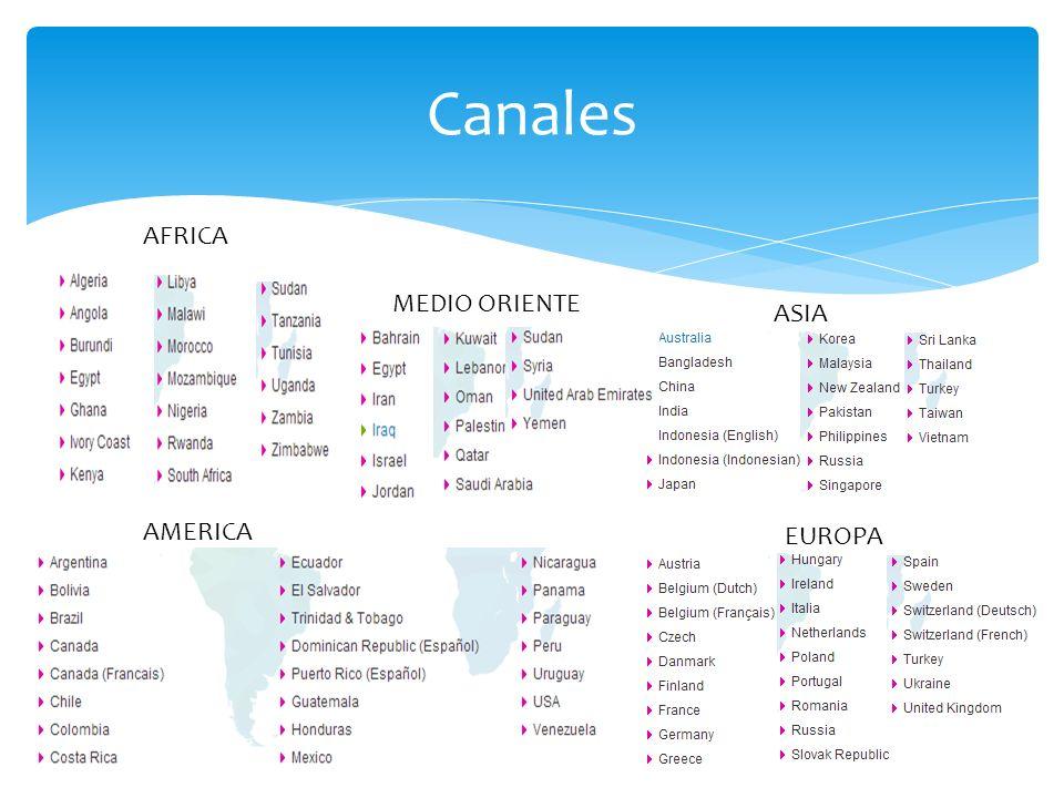 Canales AFRICA MEDIO ORIENTE ASIA AMERICA EUROPA