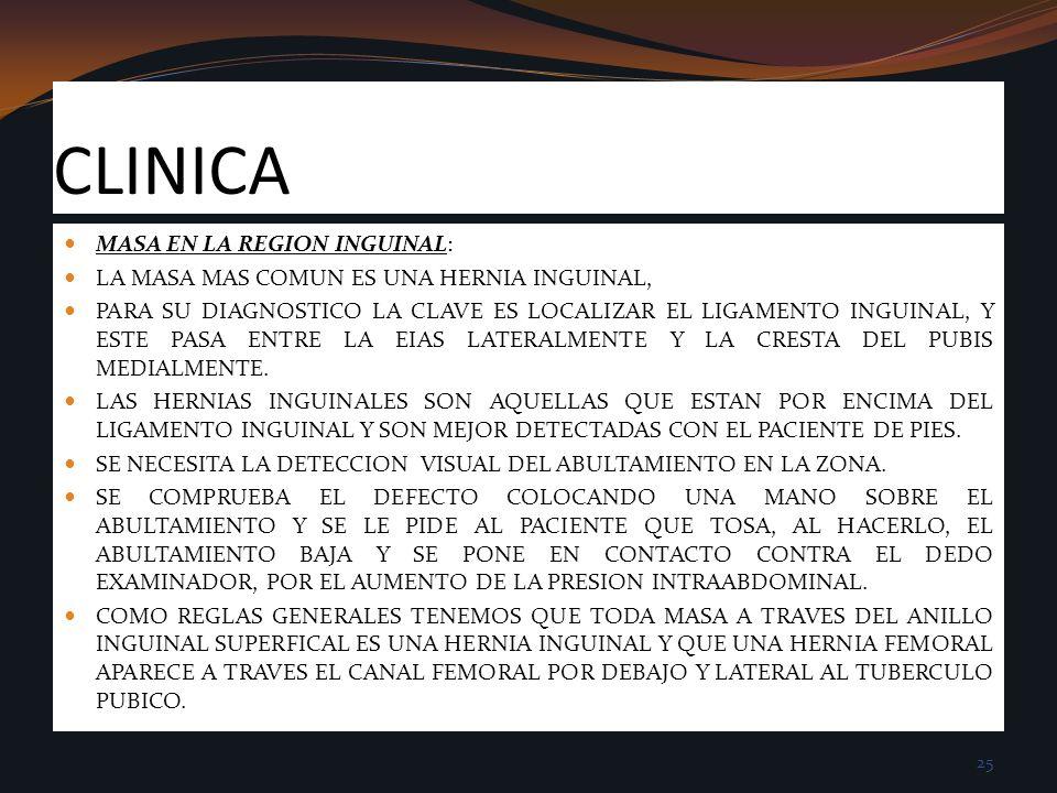 CLINICA MASA EN LA REGION INGUINAL: