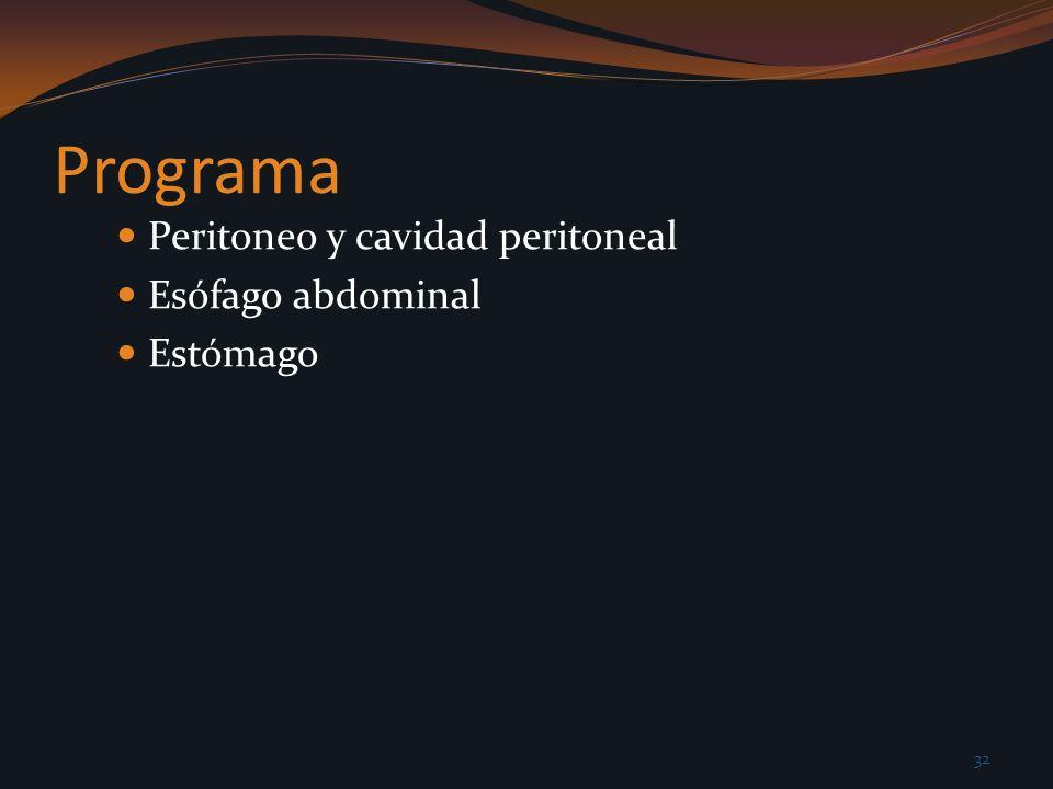Programa Peritoneo y cavidad peritoneal Esófago abdominal Estómago