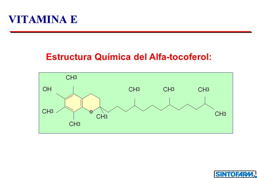 VITAMINA E Estructura Química del Alfa-tocoferol: CH OH CH CH CH CH CH