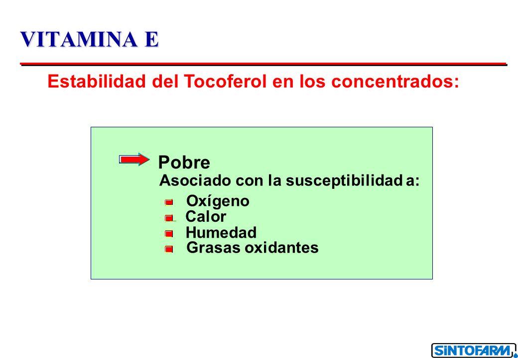 VITAMINA E Estabilidad del Tocoferol en los concentrados: Pobre