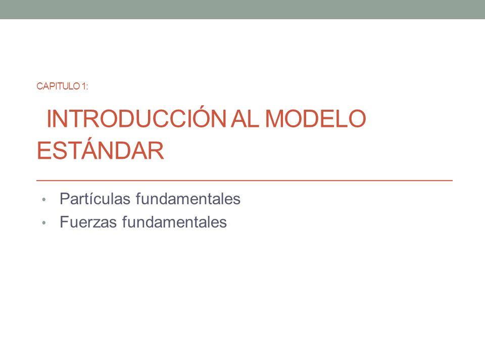 Capitulo 1: Introducción al Modelo estándar