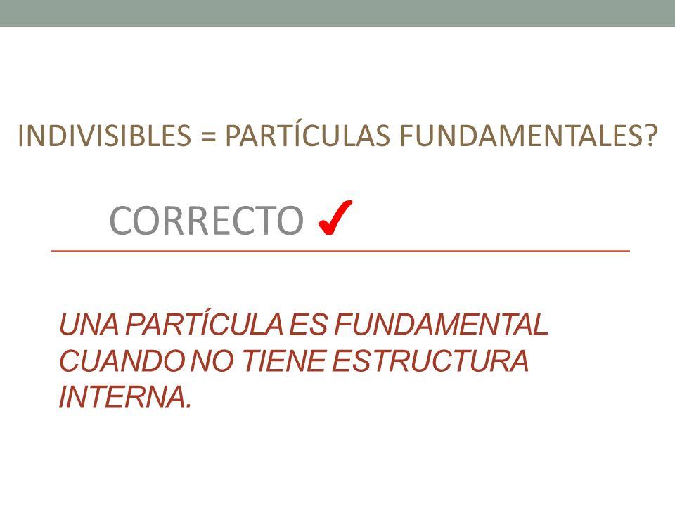Una partícula es fundamental cuando no tiene estructura interna.