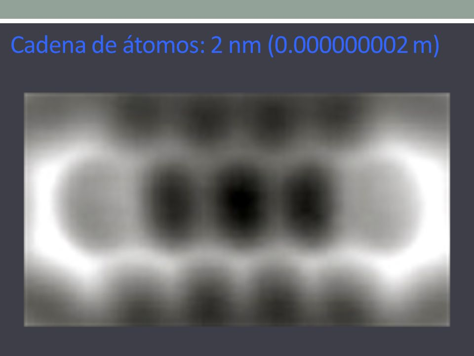 Cadena de átomos: 2 nm (0.000000002 m)