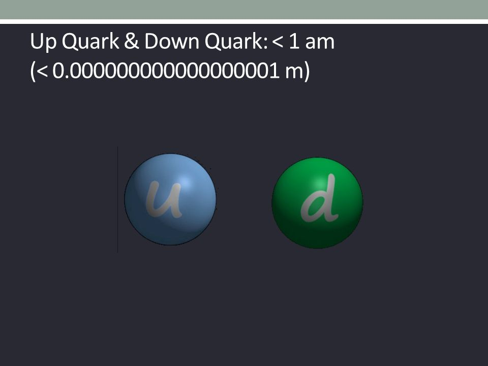 Up Quark & Down Quark: < 1 am (< 0.000000000000000001 m)