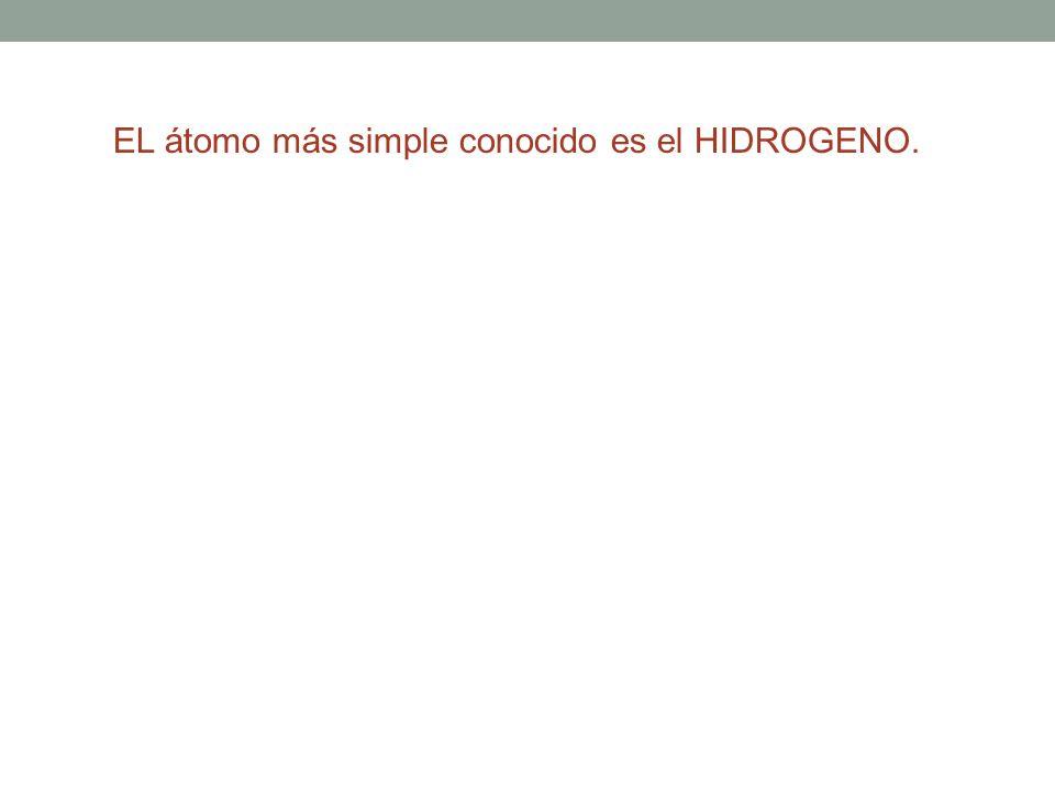 EL átomo más simple conocido es el HIDROGENO.