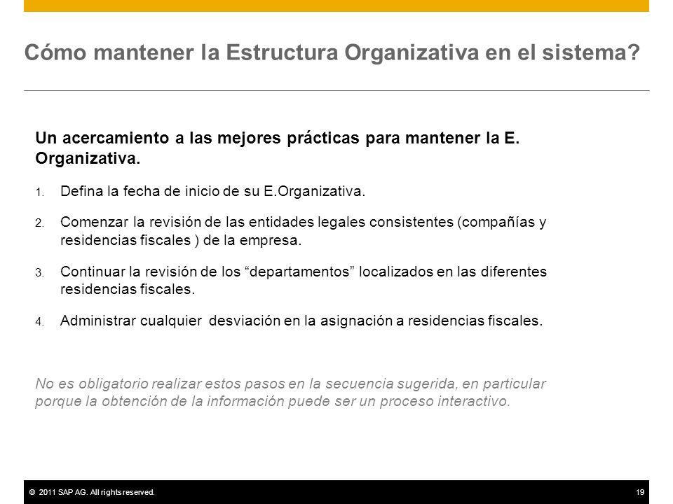 Cómo mantener la Estructura Organizativa en el sistema