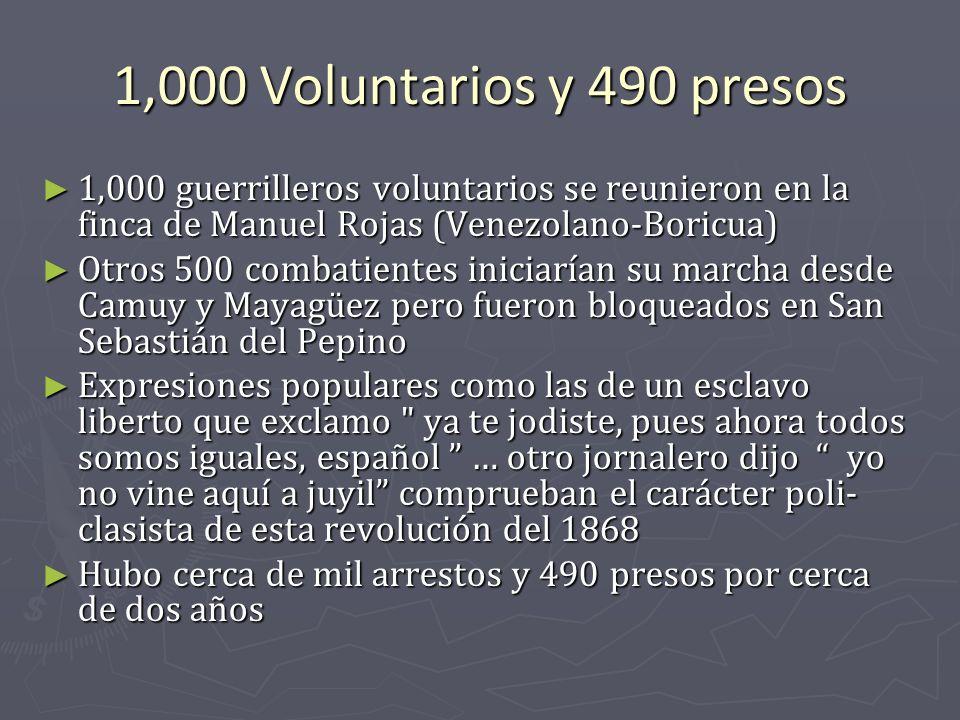 1,000 Voluntarios y 490 presos 1,000 guerrilleros voluntarios se reunieron en la finca de Manuel Rojas (Venezolano-Boricua)