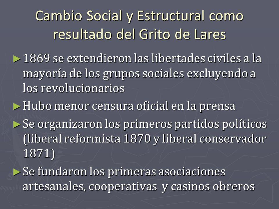 Cambio Social y Estructural como resultado del Grito de Lares