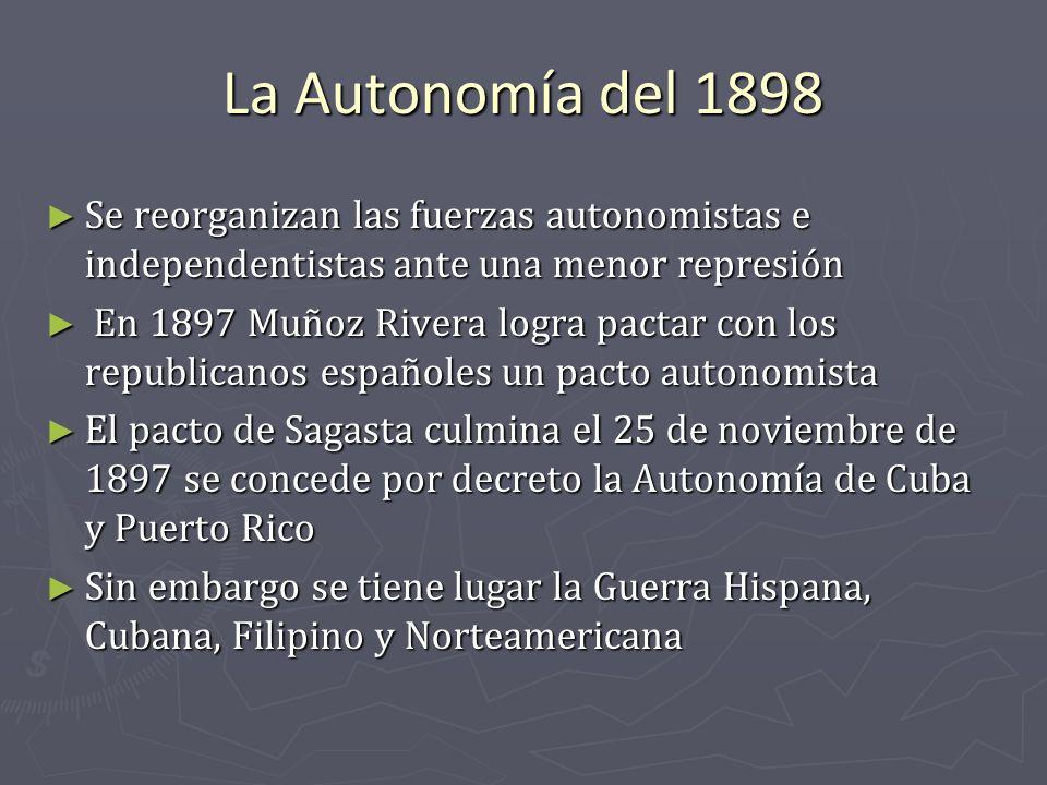 La Autonomía del 1898 Se reorganizan las fuerzas autonomistas e independentistas ante una menor represión.