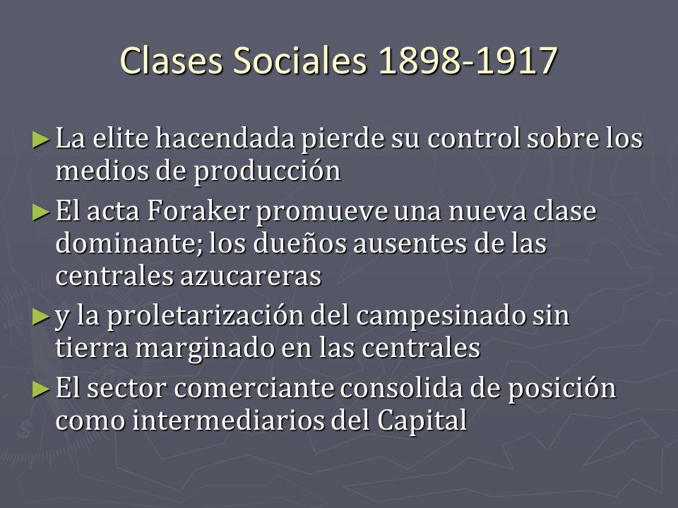 Clases Sociales 1898-1917 La elite hacendada pierde su control sobre los medios de producción.