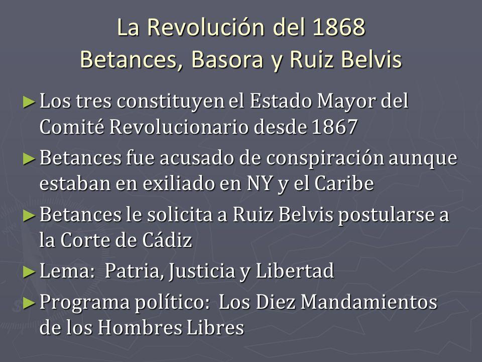 La Revolución del 1868 Betances, Basora y Ruiz Belvis
