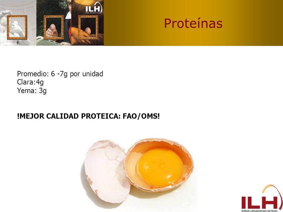 Proteínas Promedio: 6 -7g por unidad Clara:4g Yema: 3g
