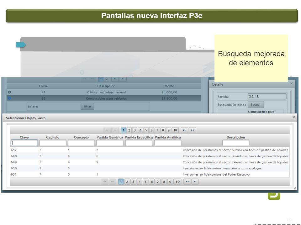 Pantallas nueva interfaz P3e
