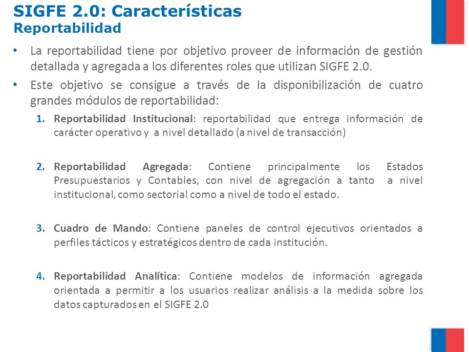 SIGFE 2.0: Características Reportabilidad