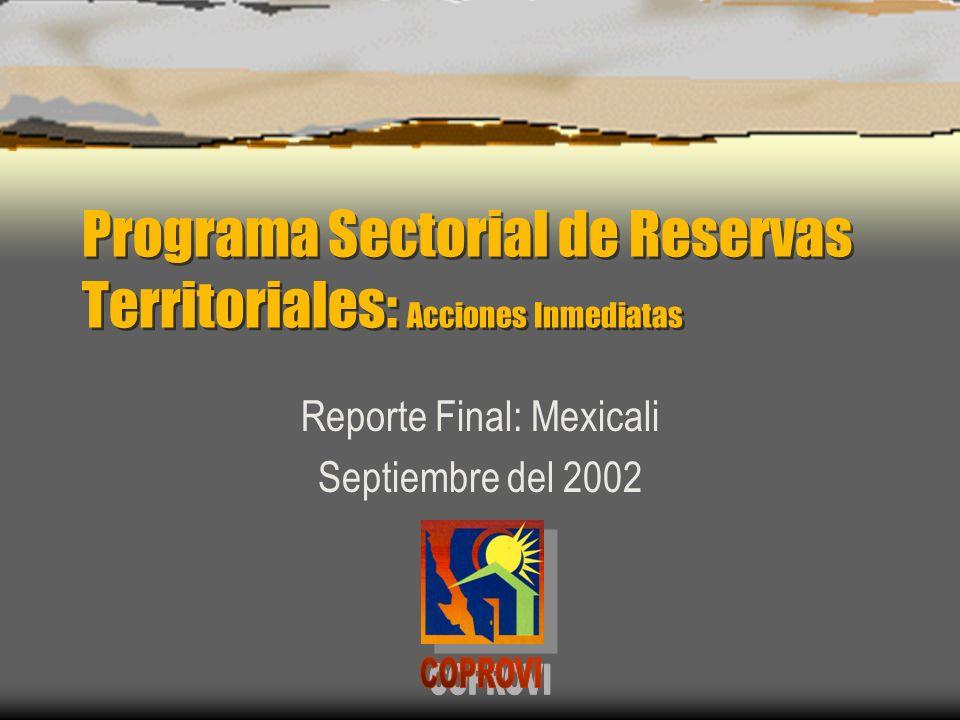 Programa Sectorial de Reservas Territoriales: Acciones Inmediatas